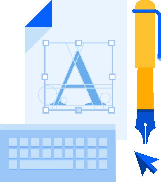 Pióro wraz z kartką papieru na której jest tworzone logo