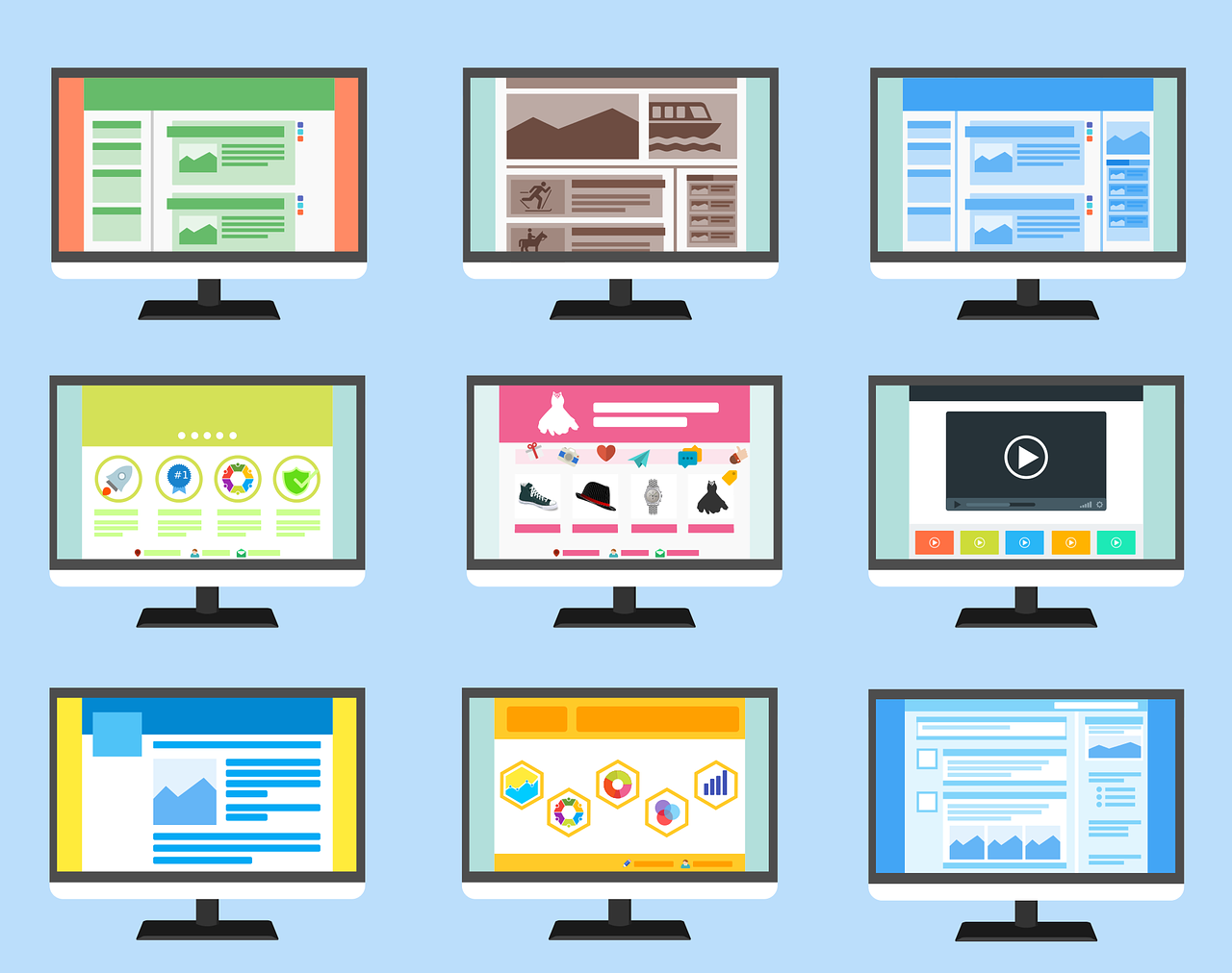 przedstawione rodzaje i typy stron www na monitorach